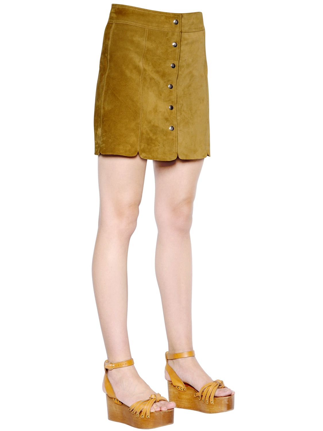 d6b00bb3a2 Lyst - Étoile Isabel Marant Paneled Suede Skirt in Natural