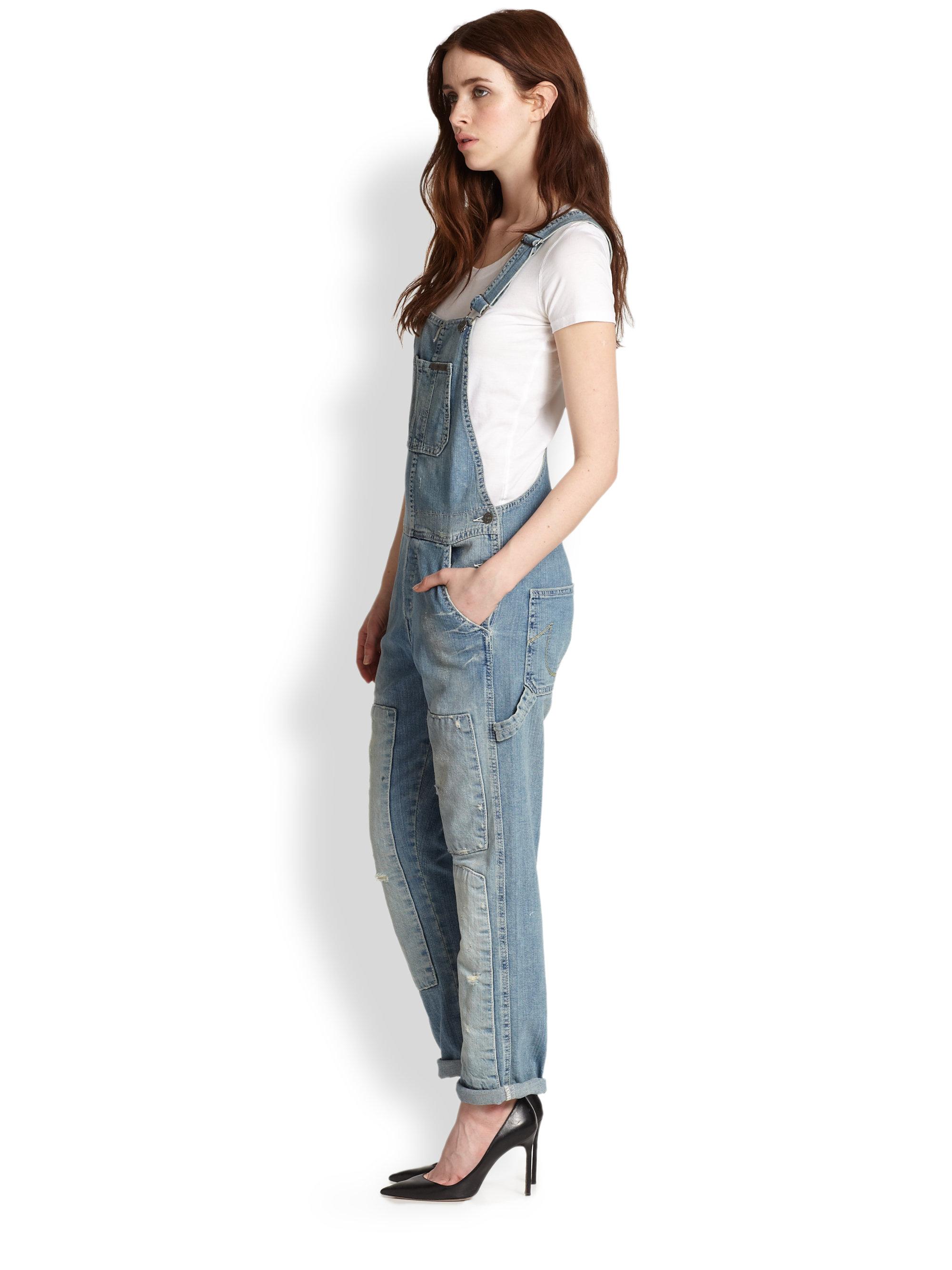a8308a53e04 True Religion Erin Distressed Denim Overalls in Blue - Lyst