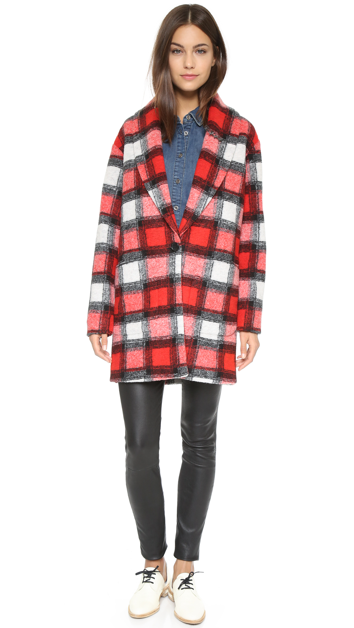 Scotch & soda Check Coat - Red Multi in Red | Lyst