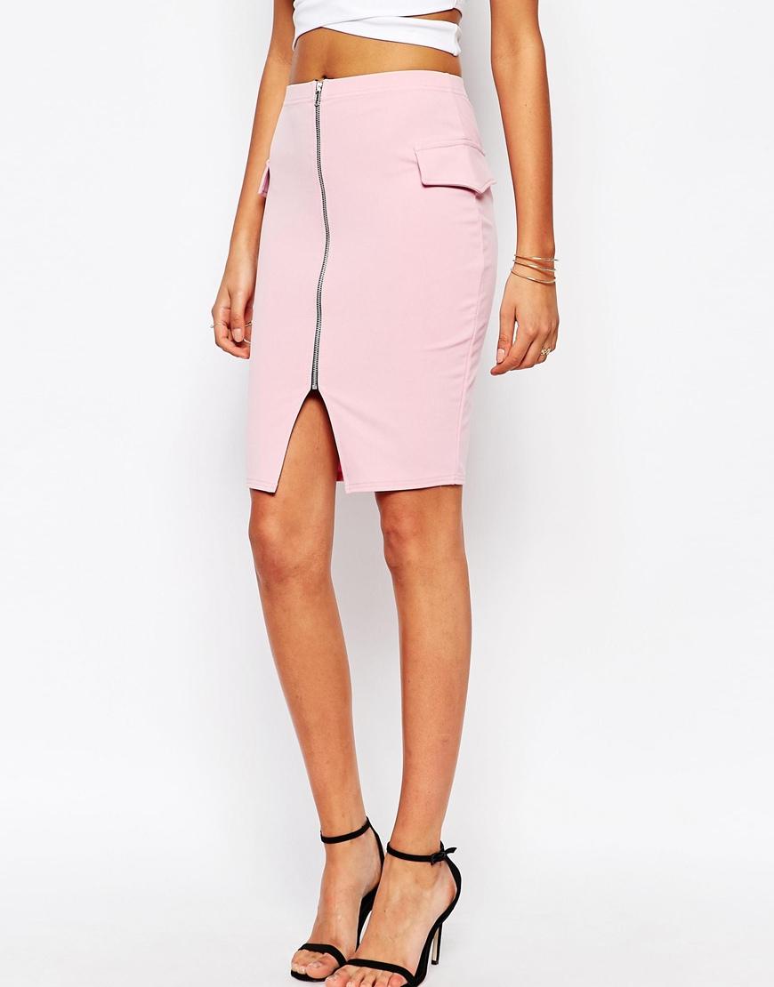 boohoo zip front pencil skirt in pink lyst