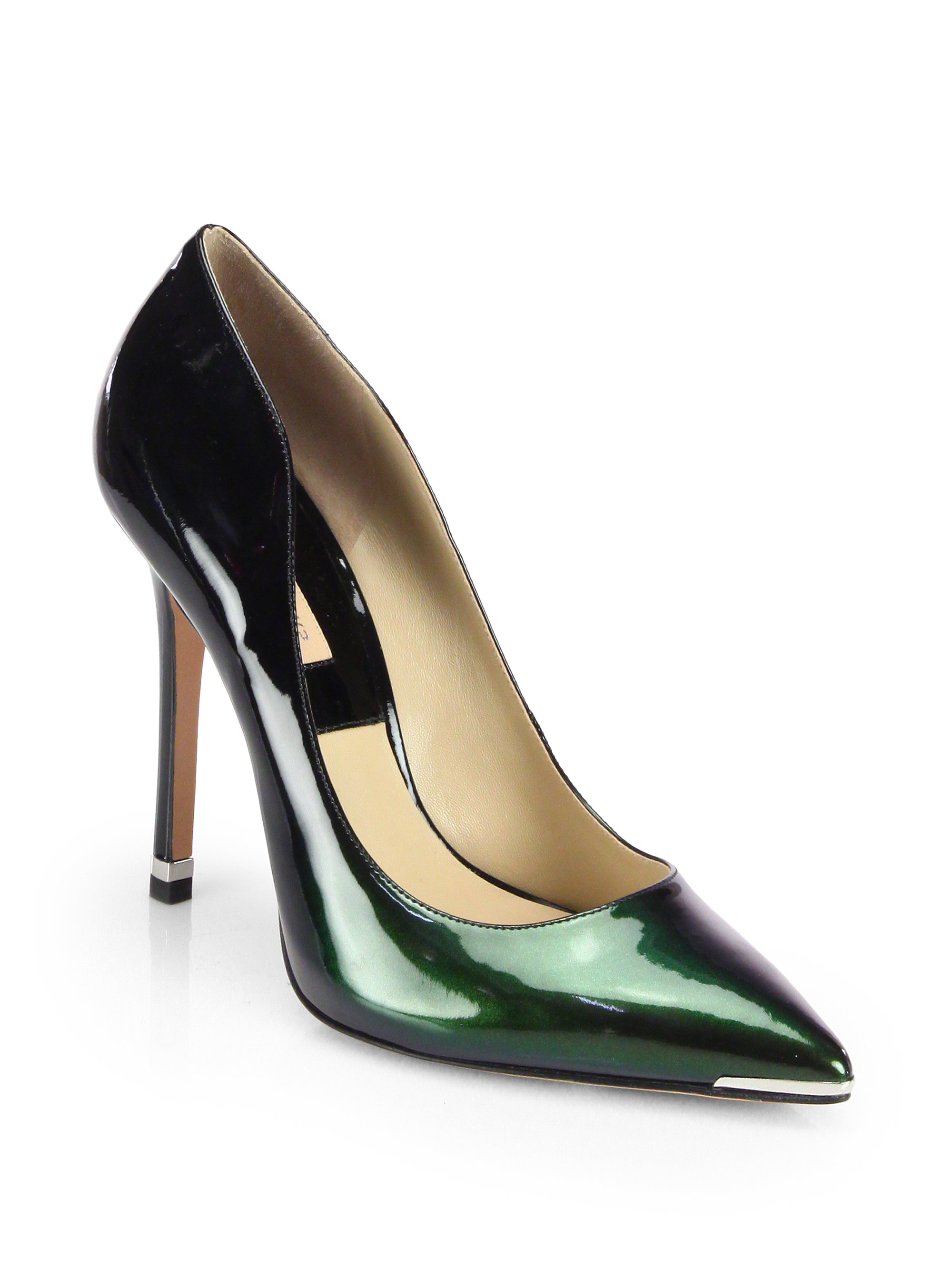 Michael Kors Avra Patent Leather Pumps In Green (FOREST ...