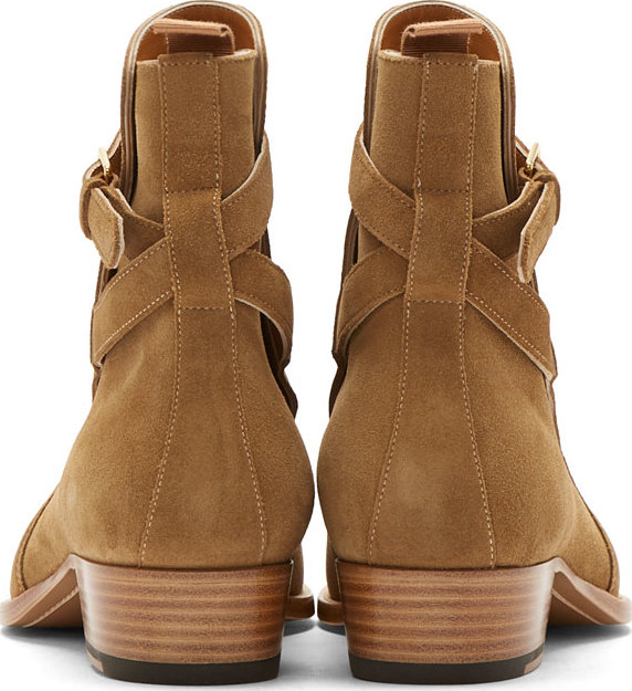 Lyst - Saint Laurent Camel Suede Wyatt Ankle Boots in Natural for Men a0510a4a15fc