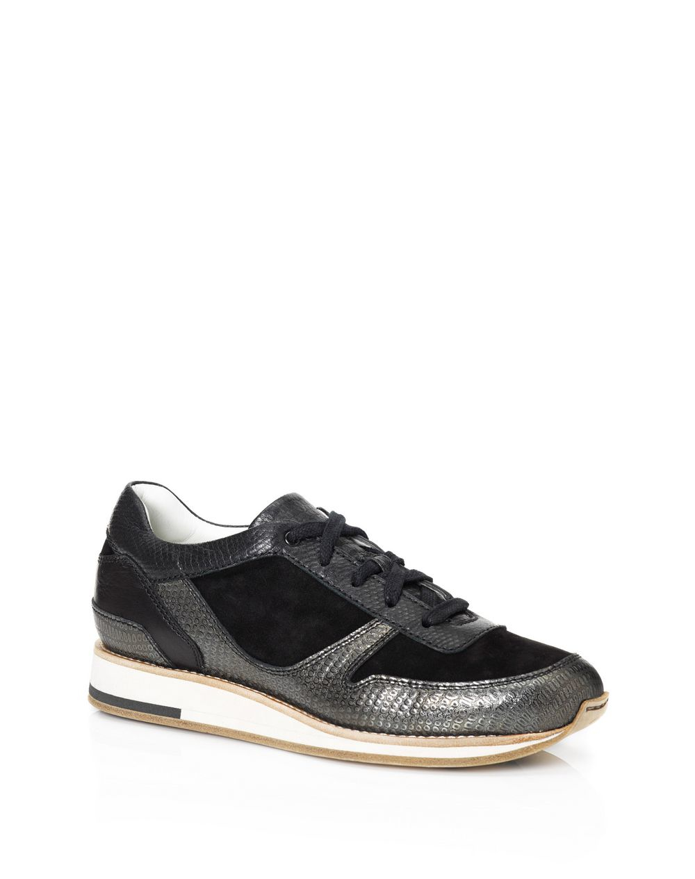 lanvin paneled leather low top runing sneakers in black lyst