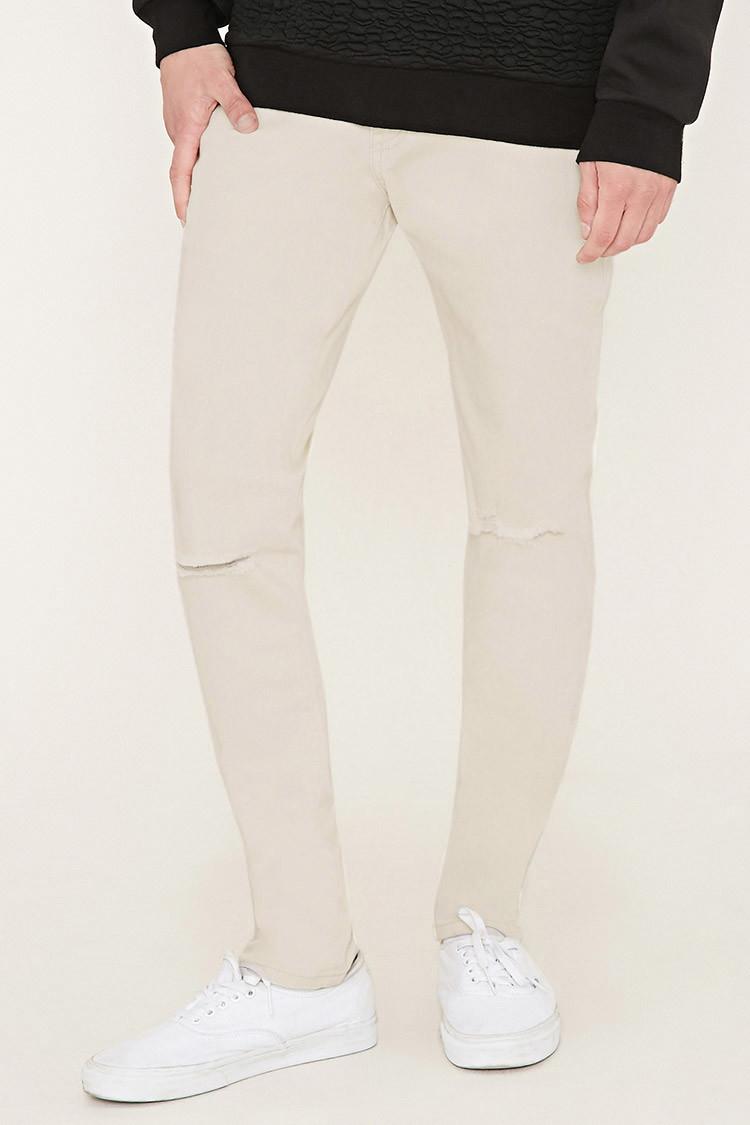 forever 21 distressed slim fit jeans in natural for men lyst. Black Bedroom Furniture Sets. Home Design Ideas