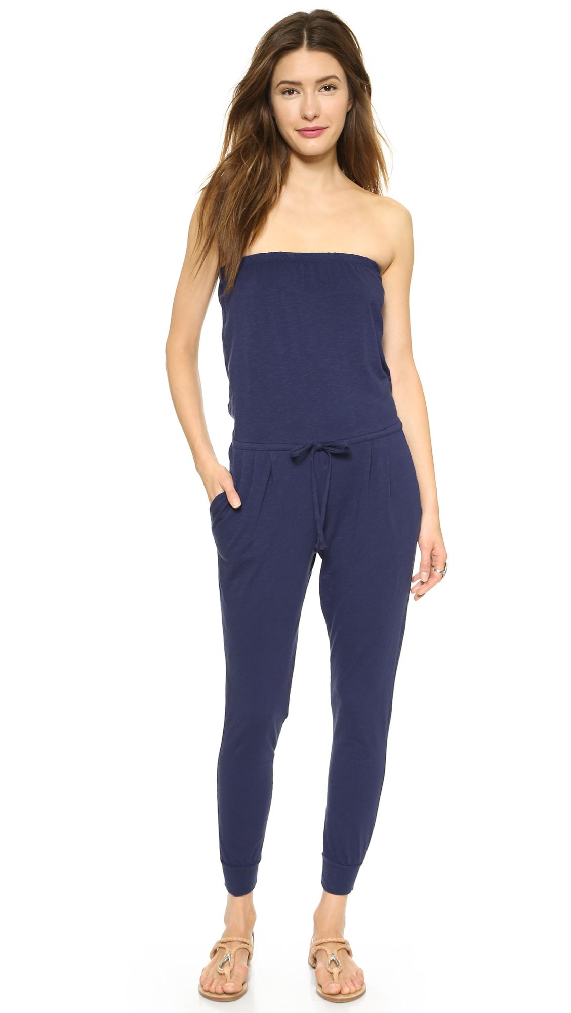 Lyst Sundry Strapless Jumpsuit Black In Blue