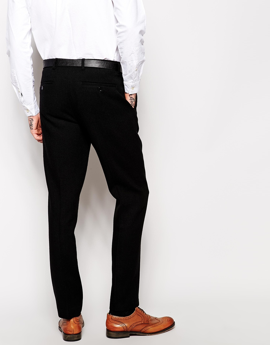 1379eabda04 Lyst - ASOS Slim Fit Smart Trousers In 100% Wool in Black for Men