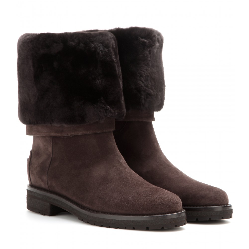 loro piana abigail suede boots with fur in brown lyst