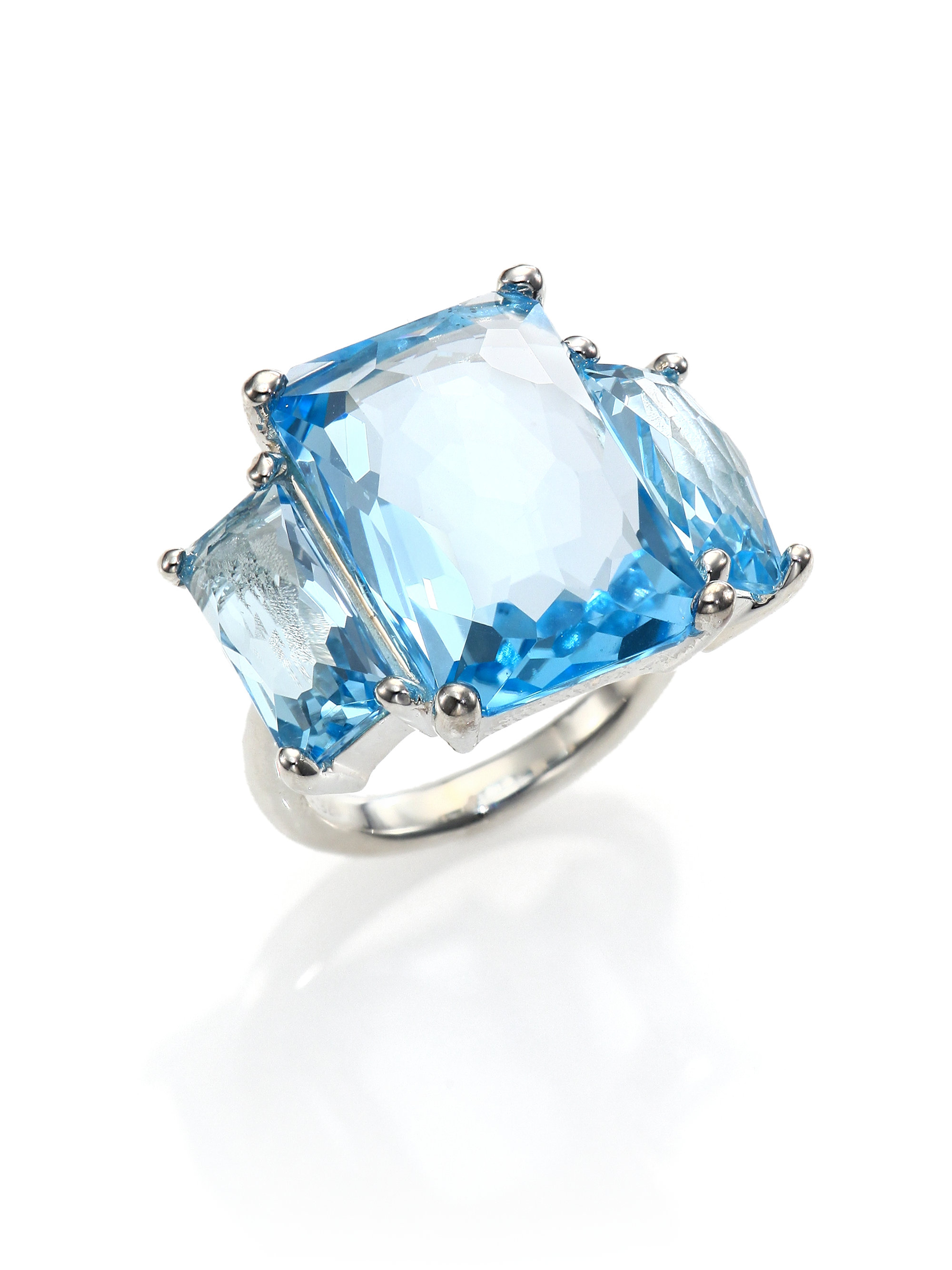 Sterling Silver Pearl Ring With Cz And Blue Stone