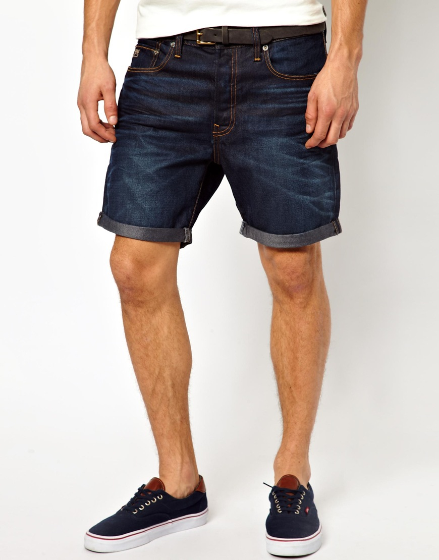 star raw g star denim shorts 3301 straight fit dark aged in blue for. Black Bedroom Furniture Sets. Home Design Ideas