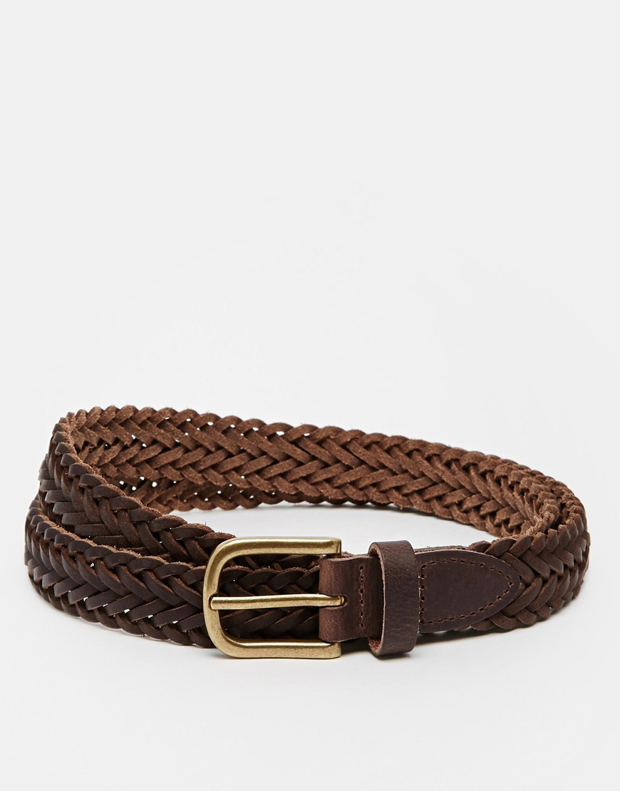 asos leather plaited belt in brown in brown for