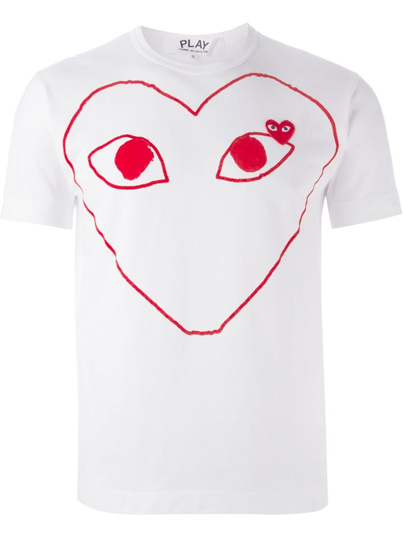 play comme des gar ons 39 play 39 heart print t shirt in white. Black Bedroom Furniture Sets. Home Design Ideas