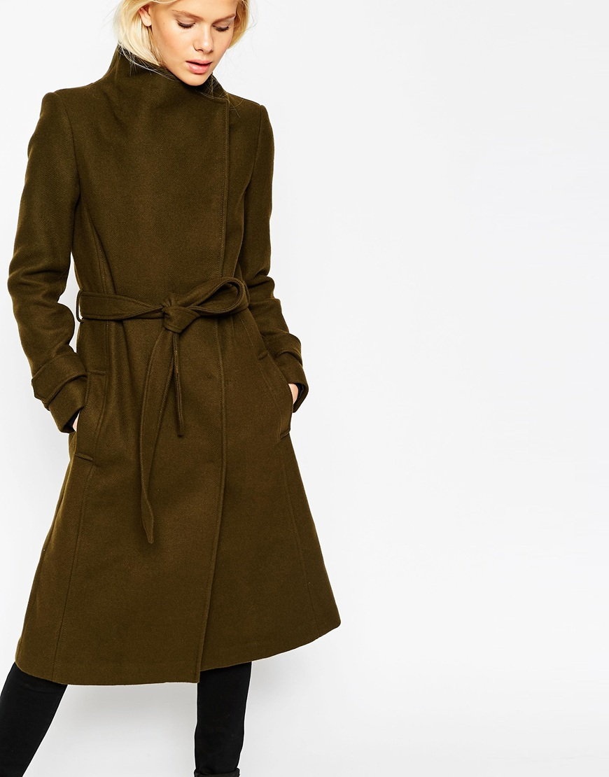 ff5365a747e82 Lyst - ASOS Coat With Funnel Neck And Belt In Wool in Natural