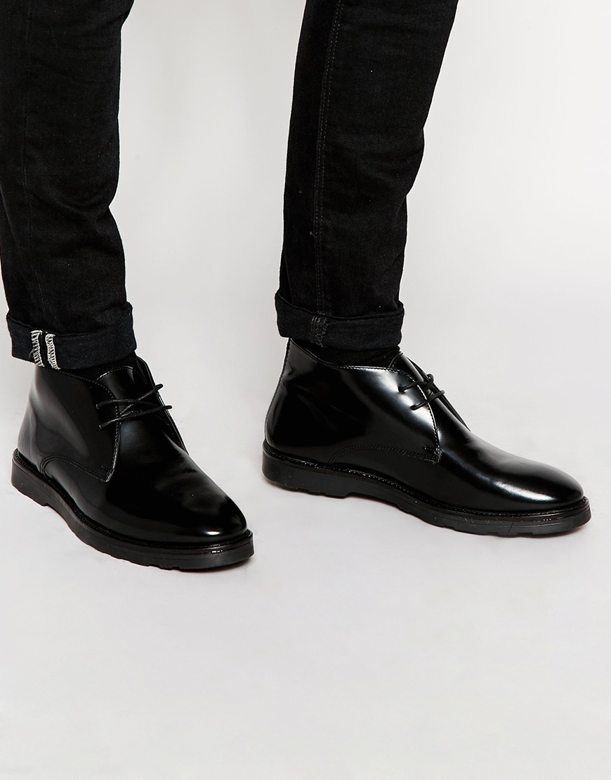 Asos Chukka Boots In Black Leather in Black for Men | Lyst