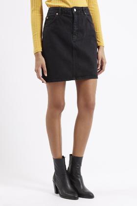 Topshop Moto High-waisted Denim Skirt in Black | Lyst