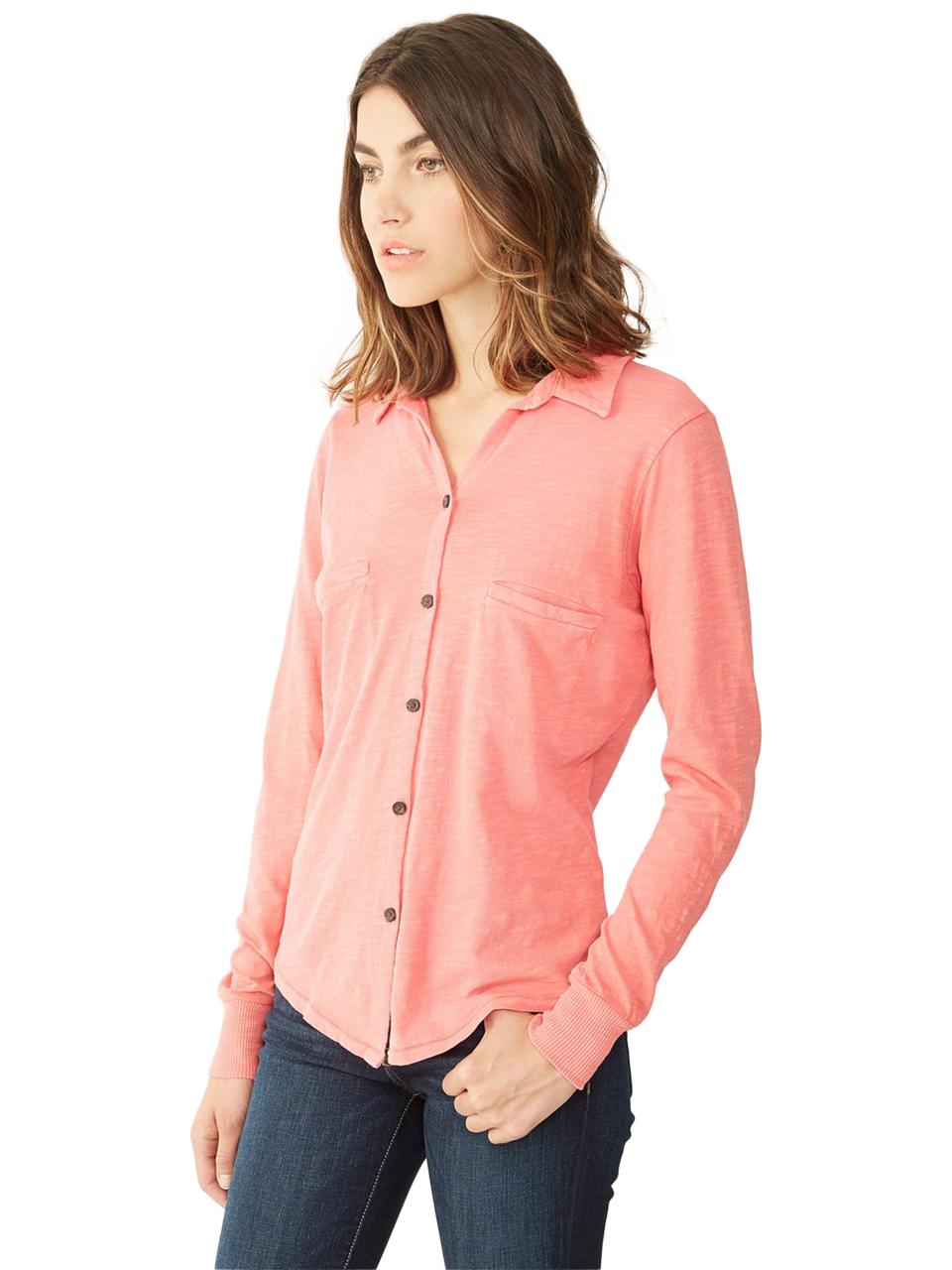 Alternative apparel everyday slub button up shirt in pink for What is a slub shirt