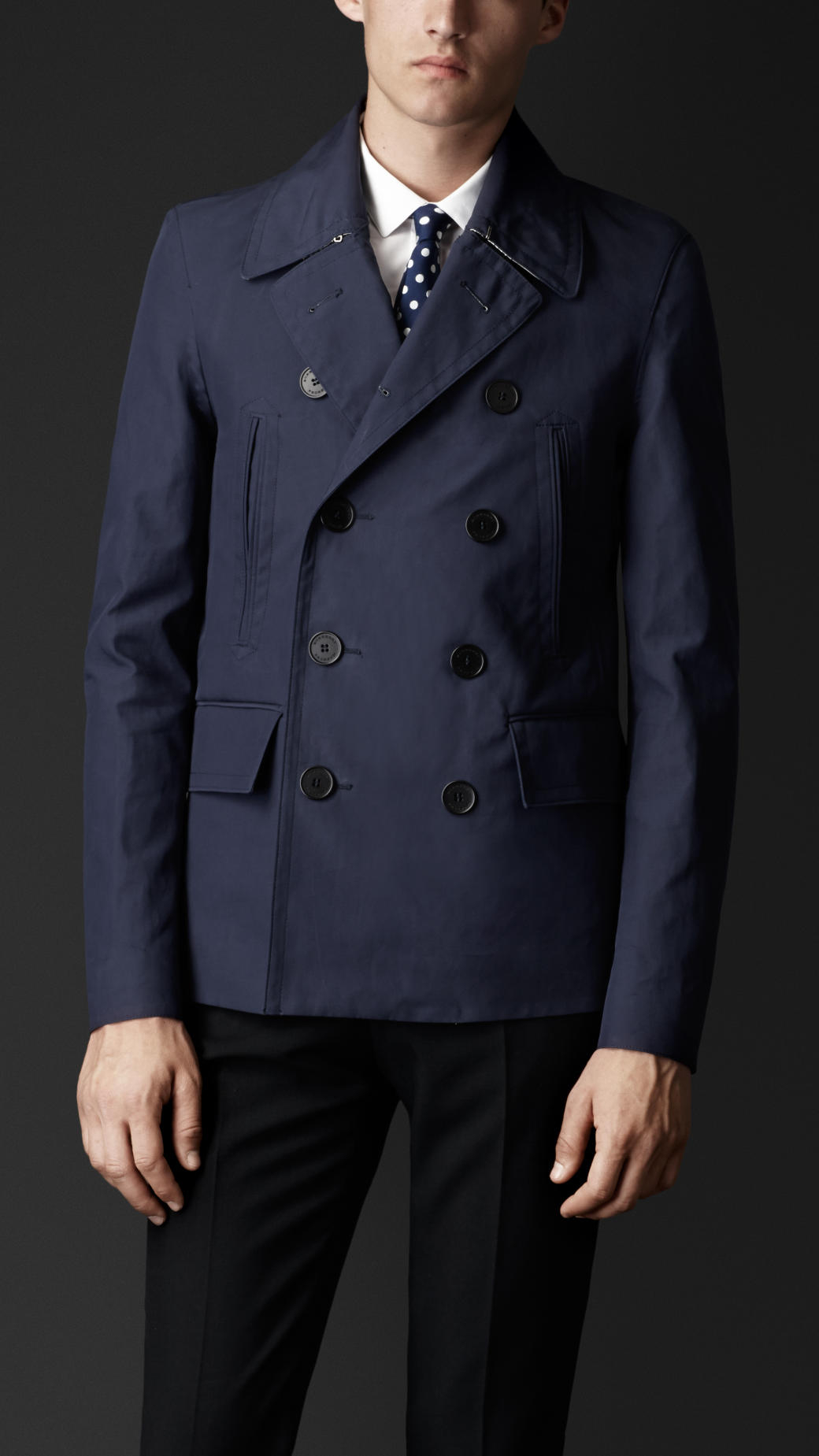 Burberry Bonded Cotton Pea Coat in Blue for Men | Lyst