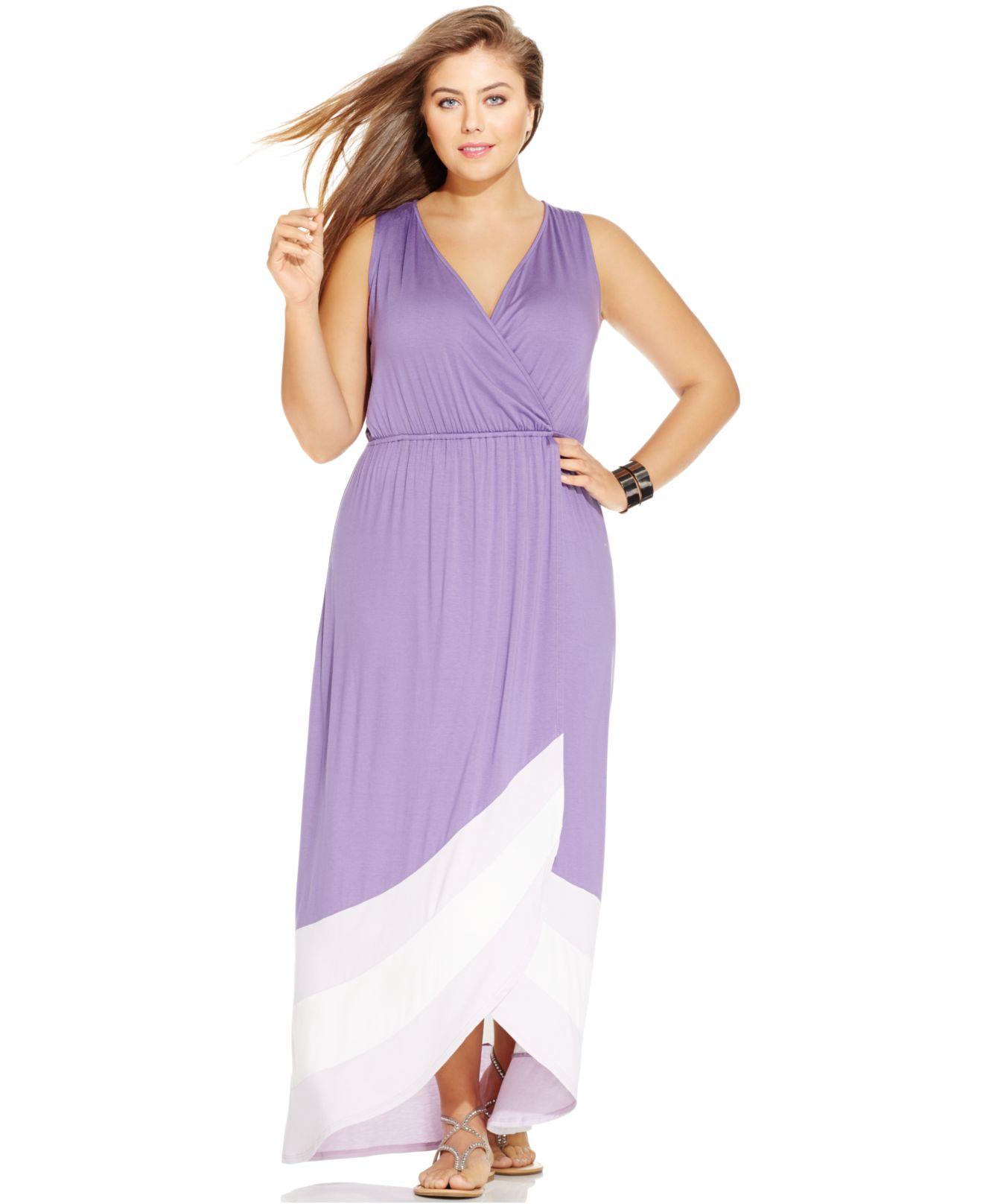 Soprano Plus Size Sleeveless Colorblocked Maxi Dress in Purple | Lyst