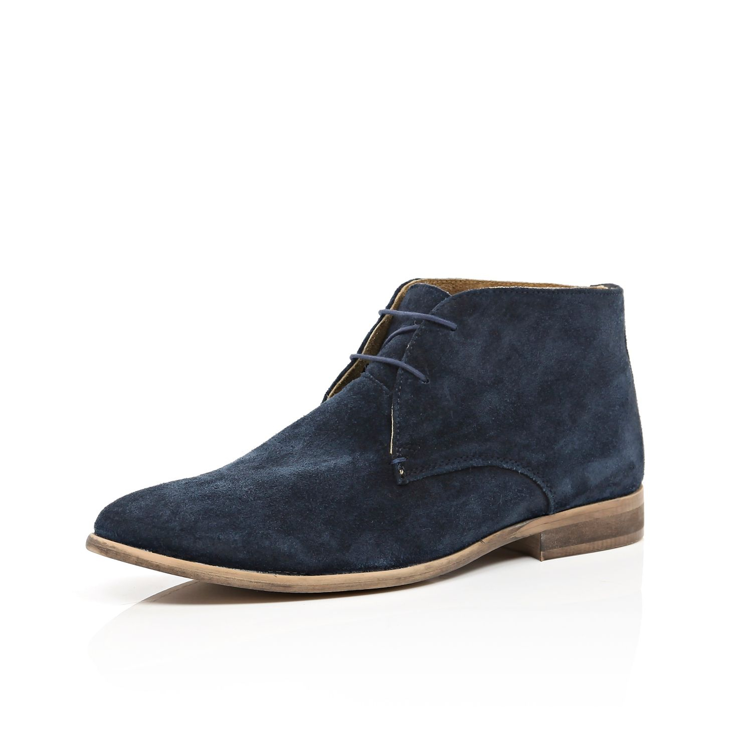 River island Navy Suede Chukka Boots in Blue for Men | Lyst
