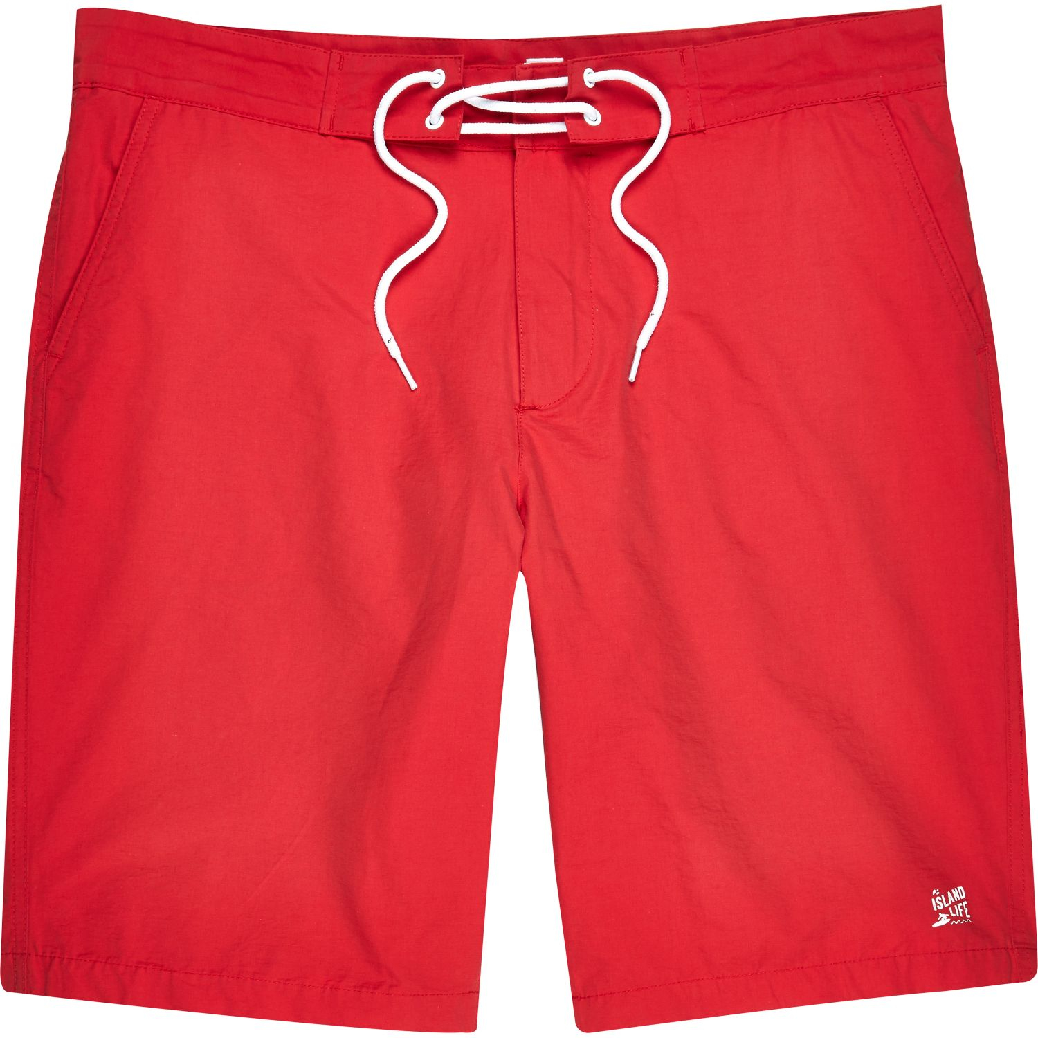 River island Red Plain Drawstring Board Shorts in Red for Men | Lyst