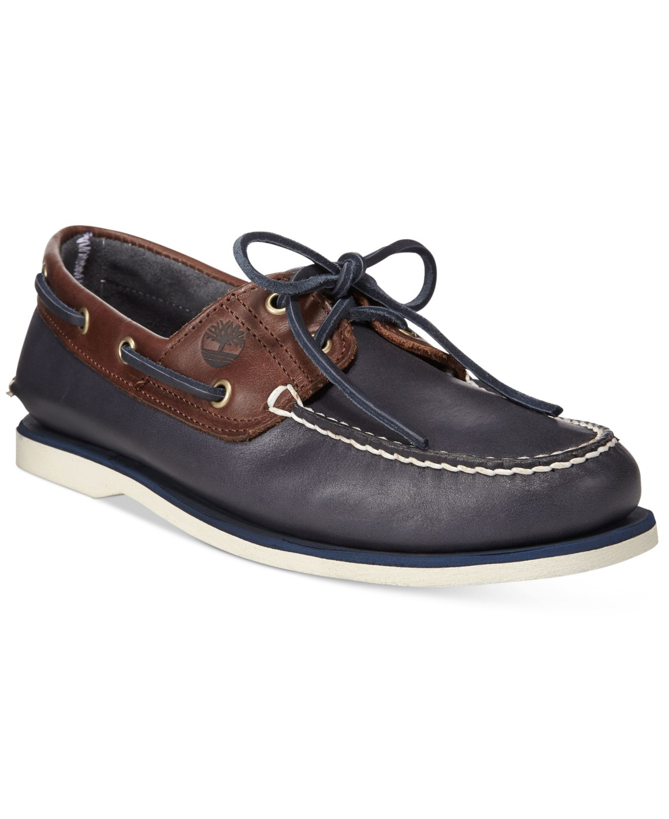 timberland classic 2-eyelet leather boat shoes navy