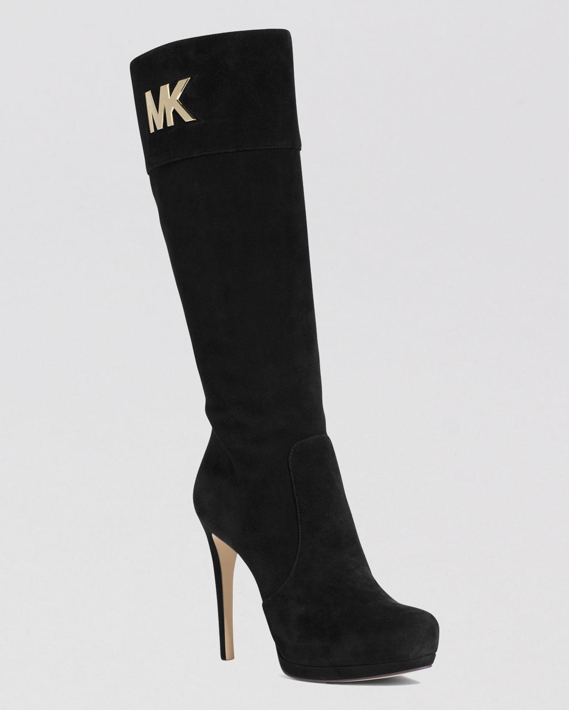Michael michael kors Tall Dress Boots - Hayley Mk Logo Plate High ...