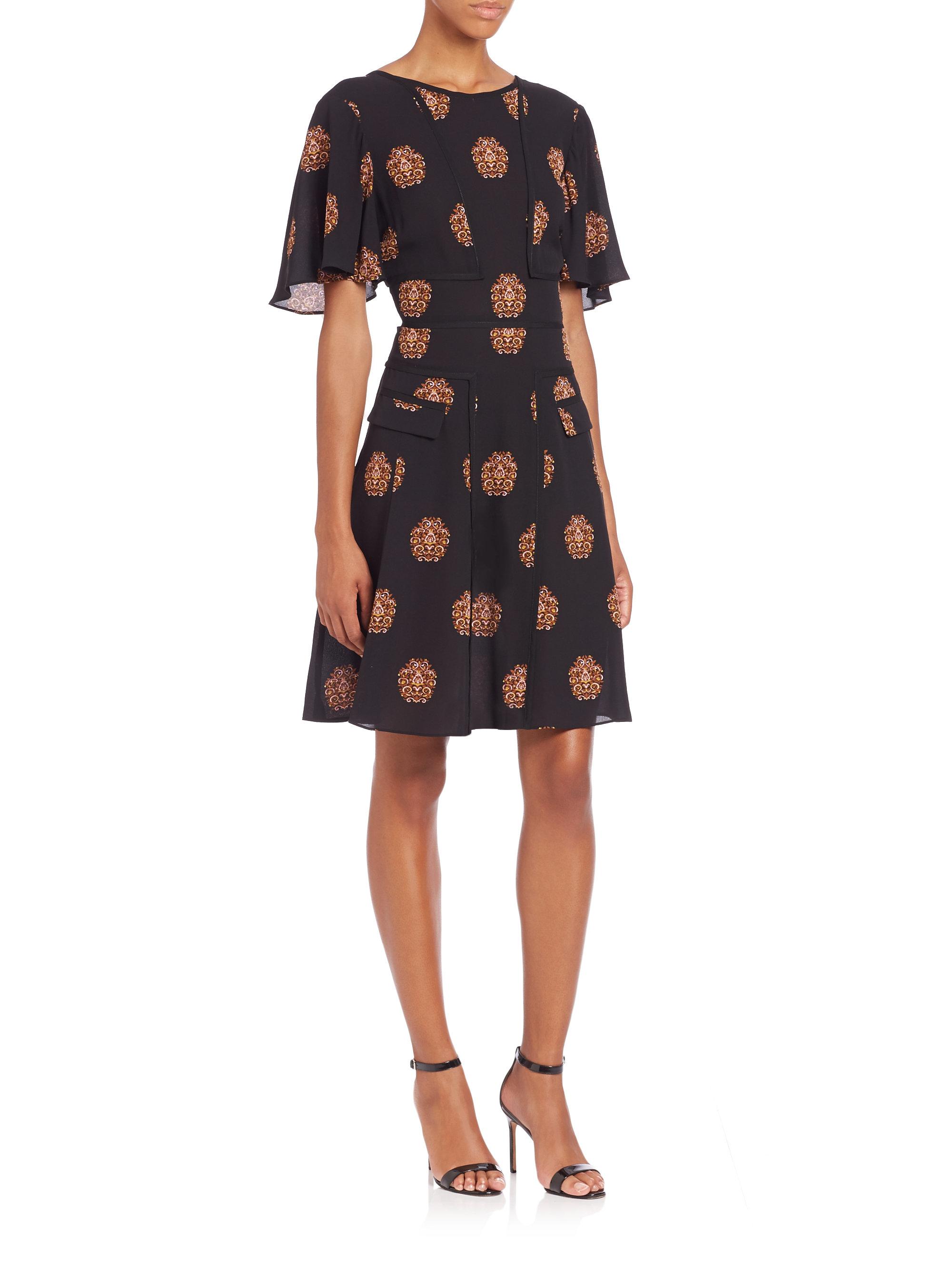 Lyst A L C Cooper Silk Dress In Black