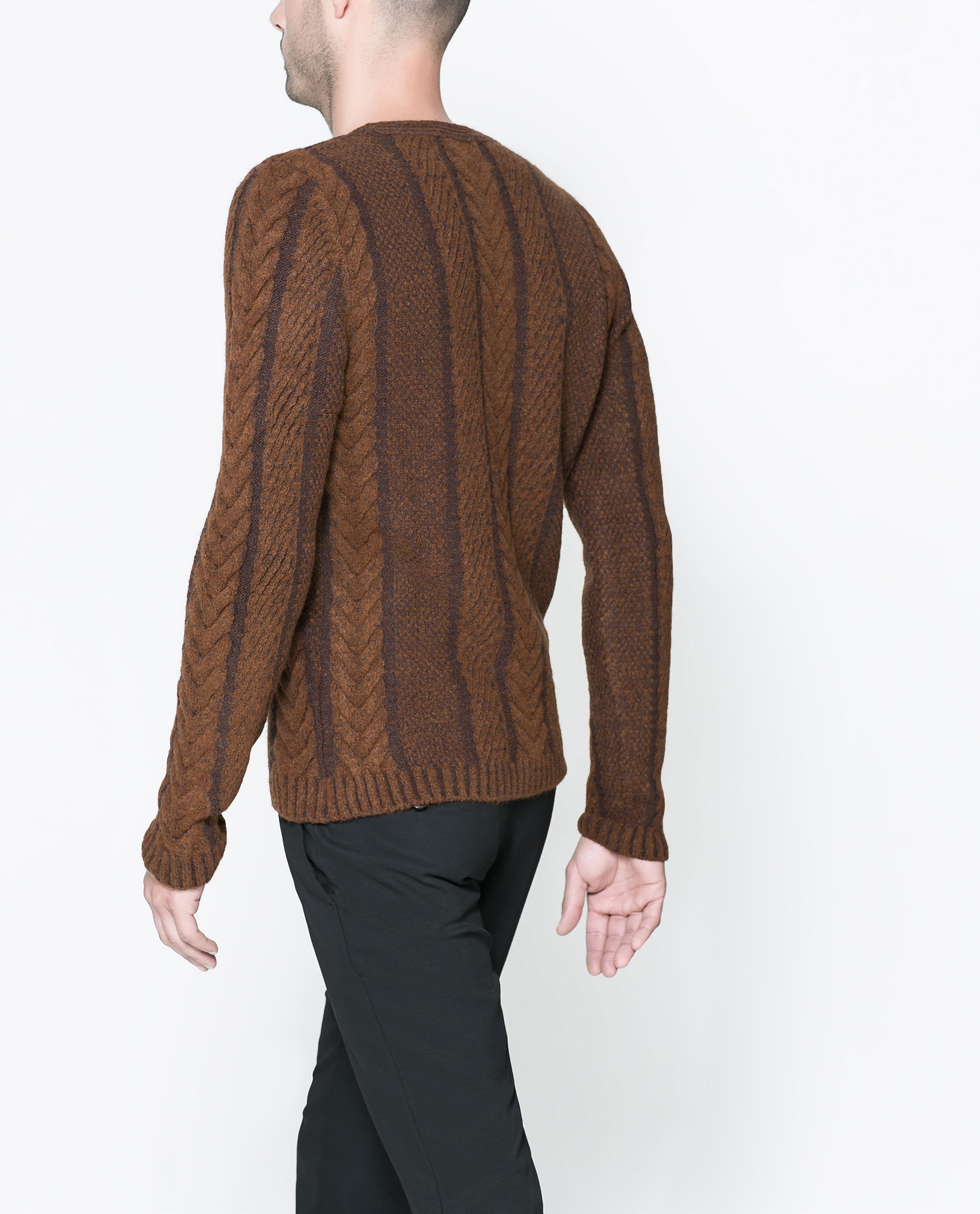 Zara Cable Knit Sweater In Brown For Men Lyst