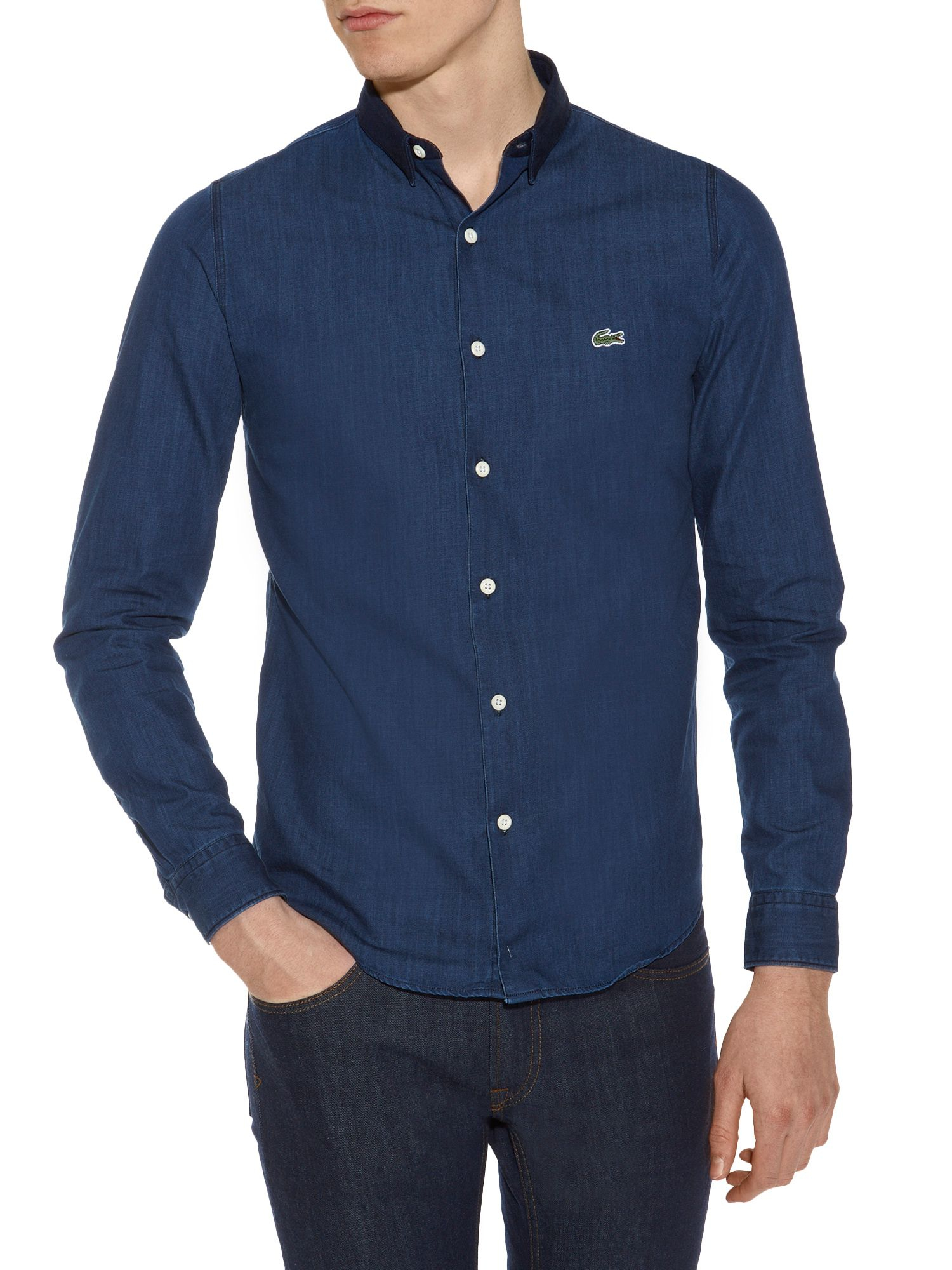 lacoste lve denim shirt in blue for men indigo lyst