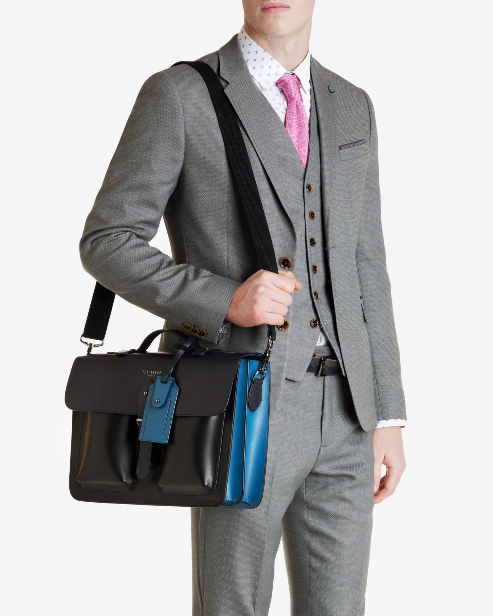 Lyst Ted Baker Color Block Leather Satchel In Blue For Men