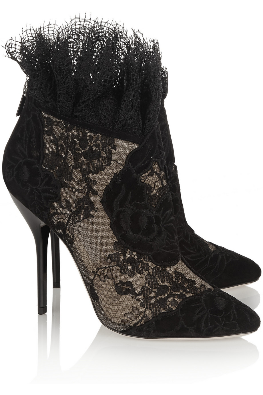 46c2edcba8f8 Lyst - Jimmy Choo Kamaris Suede and Lace Ankle Boots in Black