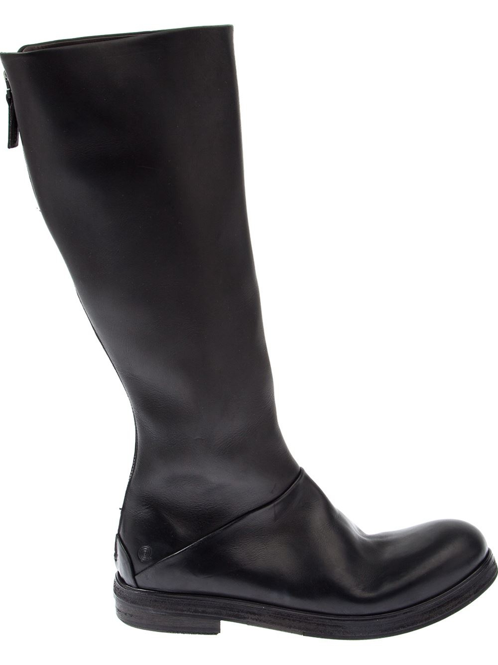 American television personality, Rachael Ray, in knee-length, black leather fashion boots, January diagram of a typical knee-length fashion boot showing shoemaker's terminology. Fashion boots generally employ the same range of soles and heels as are found in shoes. The defining character of the boot is the length of the shaft.