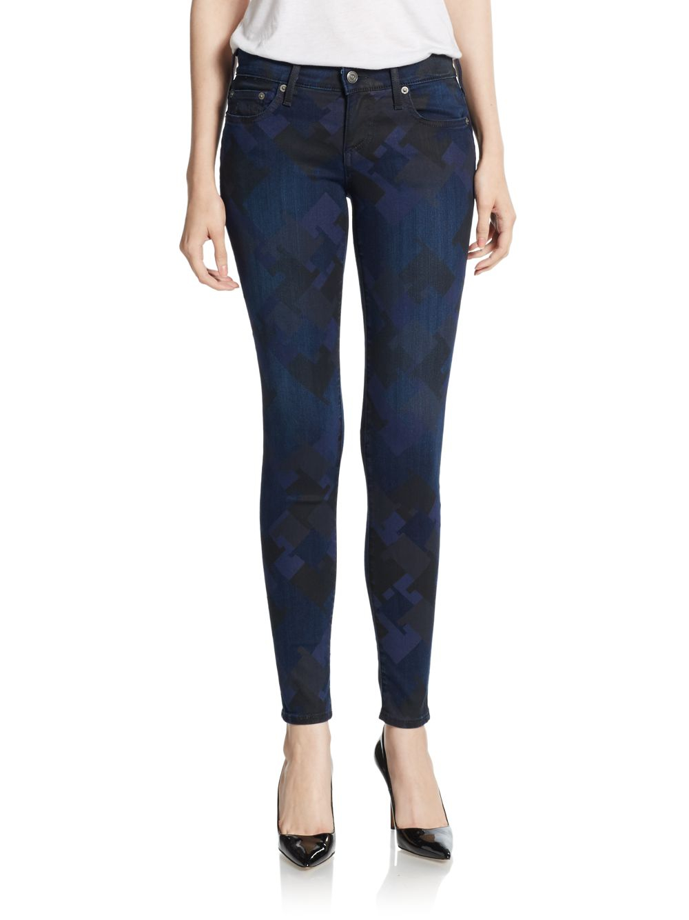 true religion casey low rise super skinny jeans in blue lyst. Black Bedroom Furniture Sets. Home Design Ideas