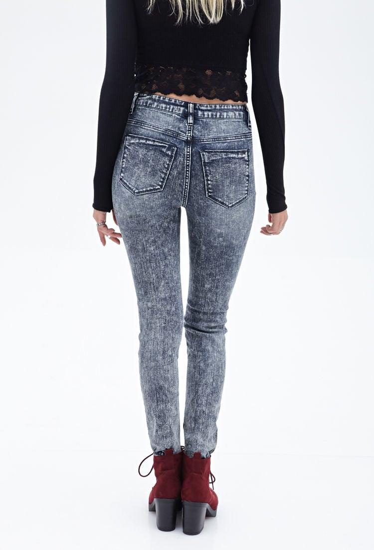 forever 21 highwaist distressed acid wash skinny jeans