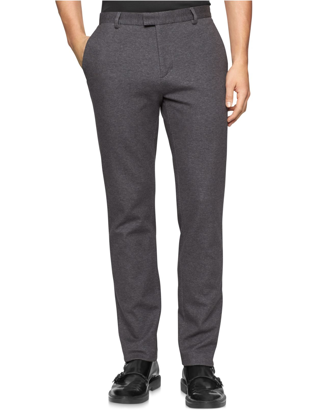 Lyst Calvin Klein Ponte Dress Pants In Gray For Men