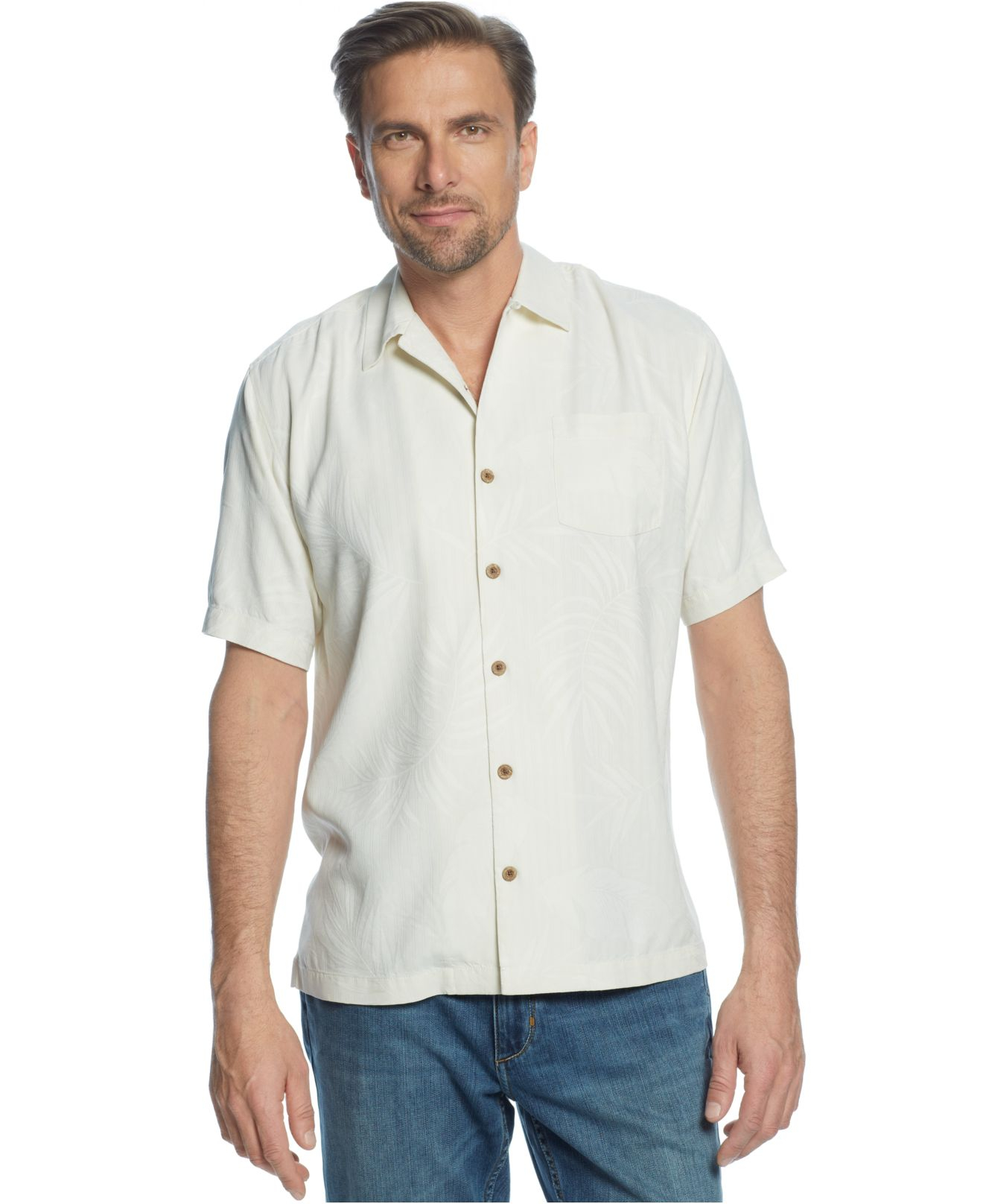 tommy bahama big and tall tiki palms silk shirt in white