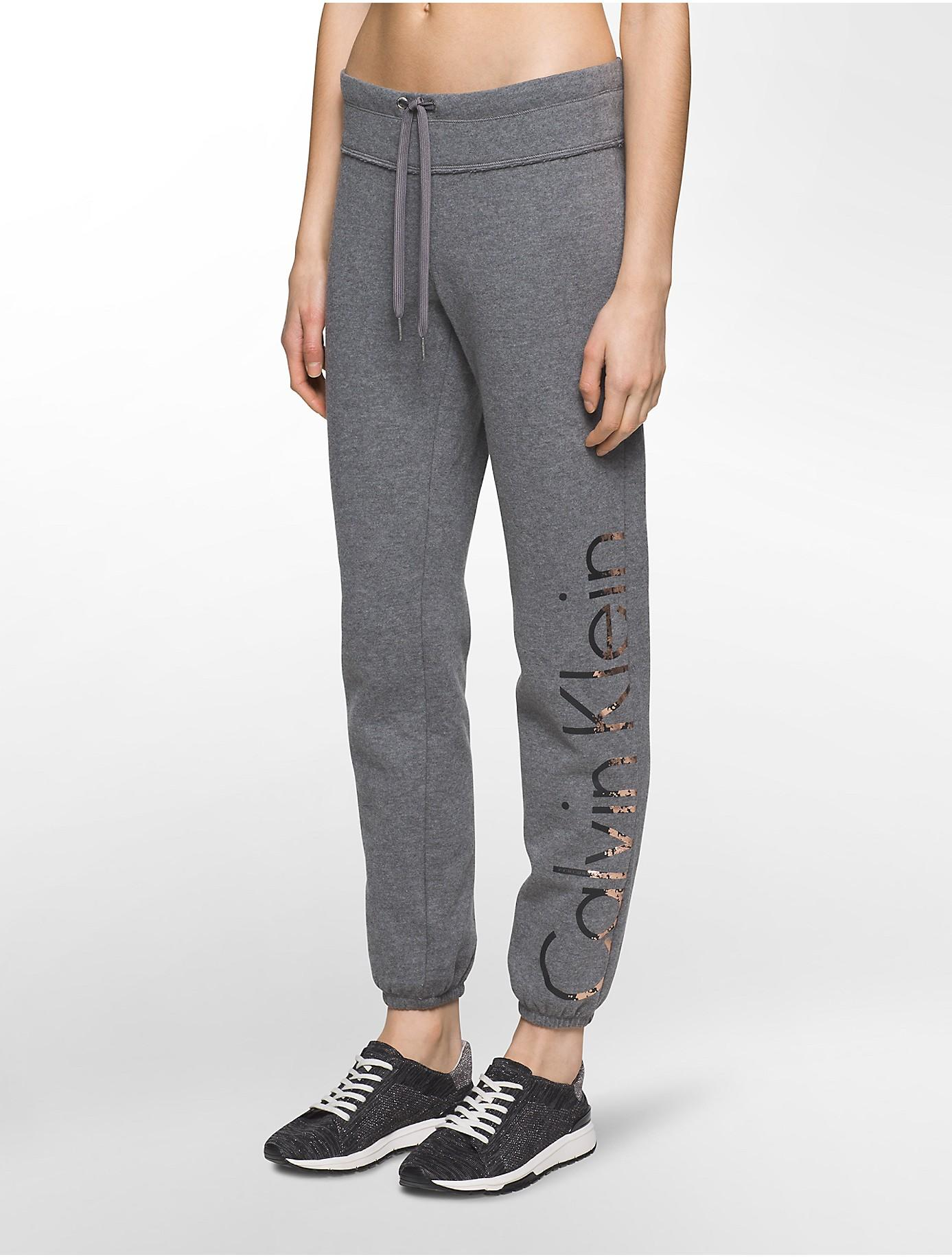 Calvin Klein Performance Logo Sweatpants In Gray Lyst