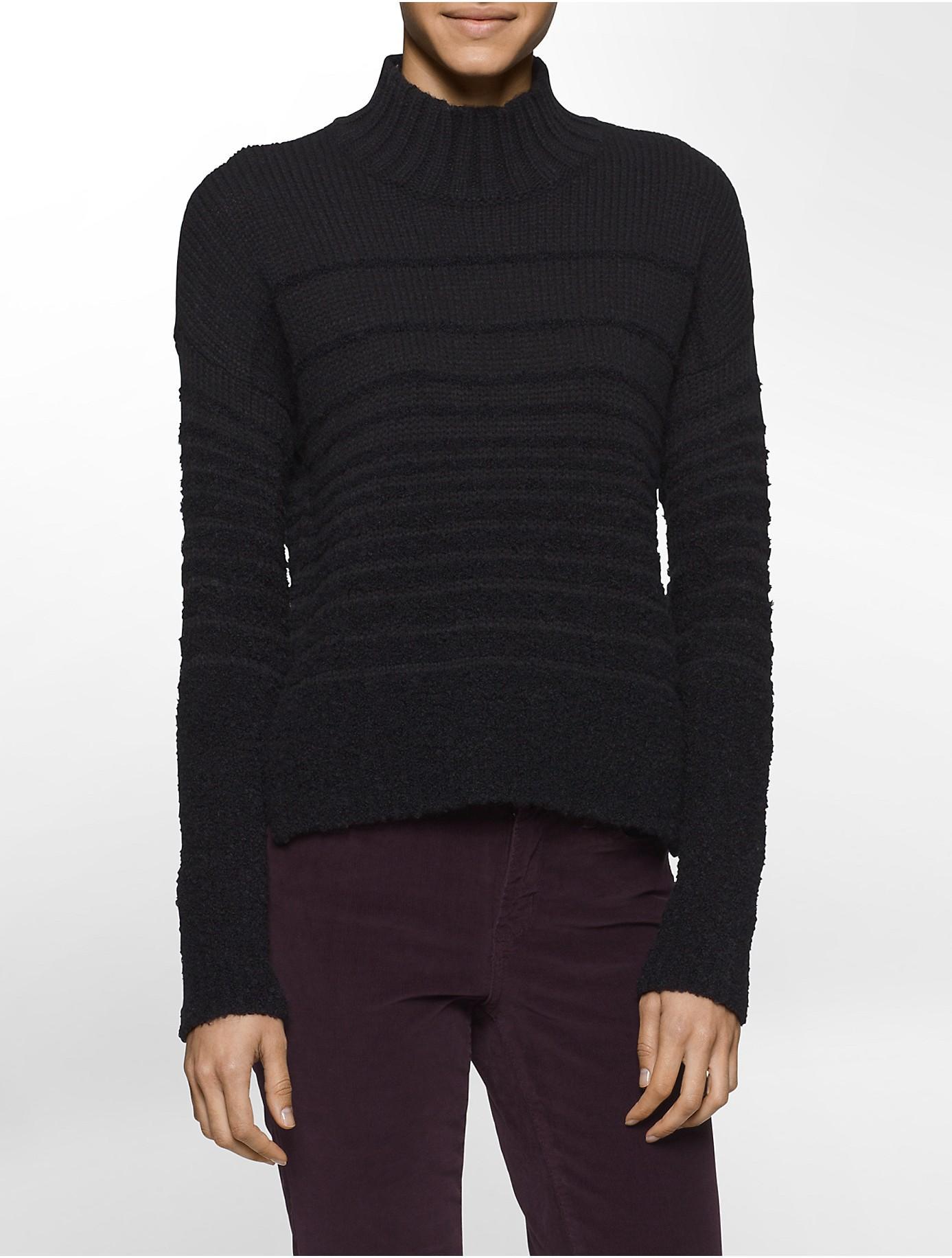 calvin klein jeans boucle mock neck sweater in black for. Black Bedroom Furniture Sets. Home Design Ideas