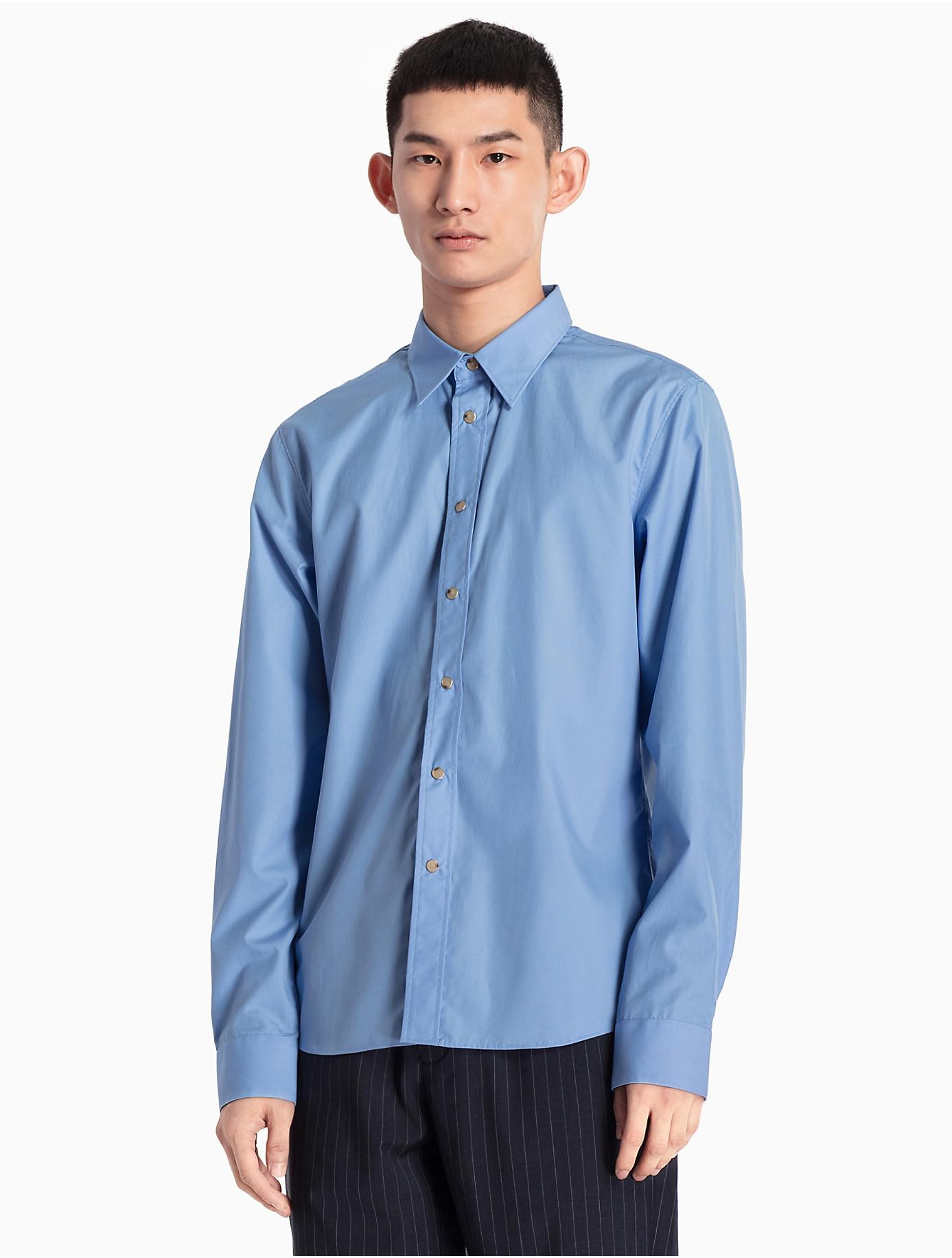 f35dd0a9a93 Lyst - Calvin Klein Slim Fit Snap Dress Shirt in Blue for Men
