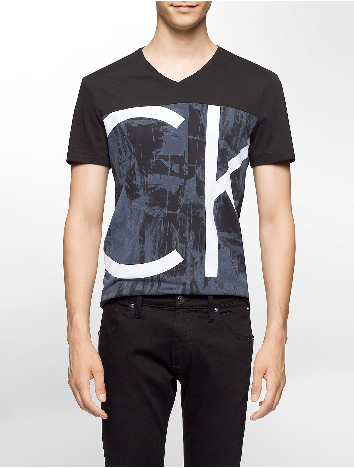 Calvin Klein Ck One Slim Fit Colorblock V Neck T Shirt In