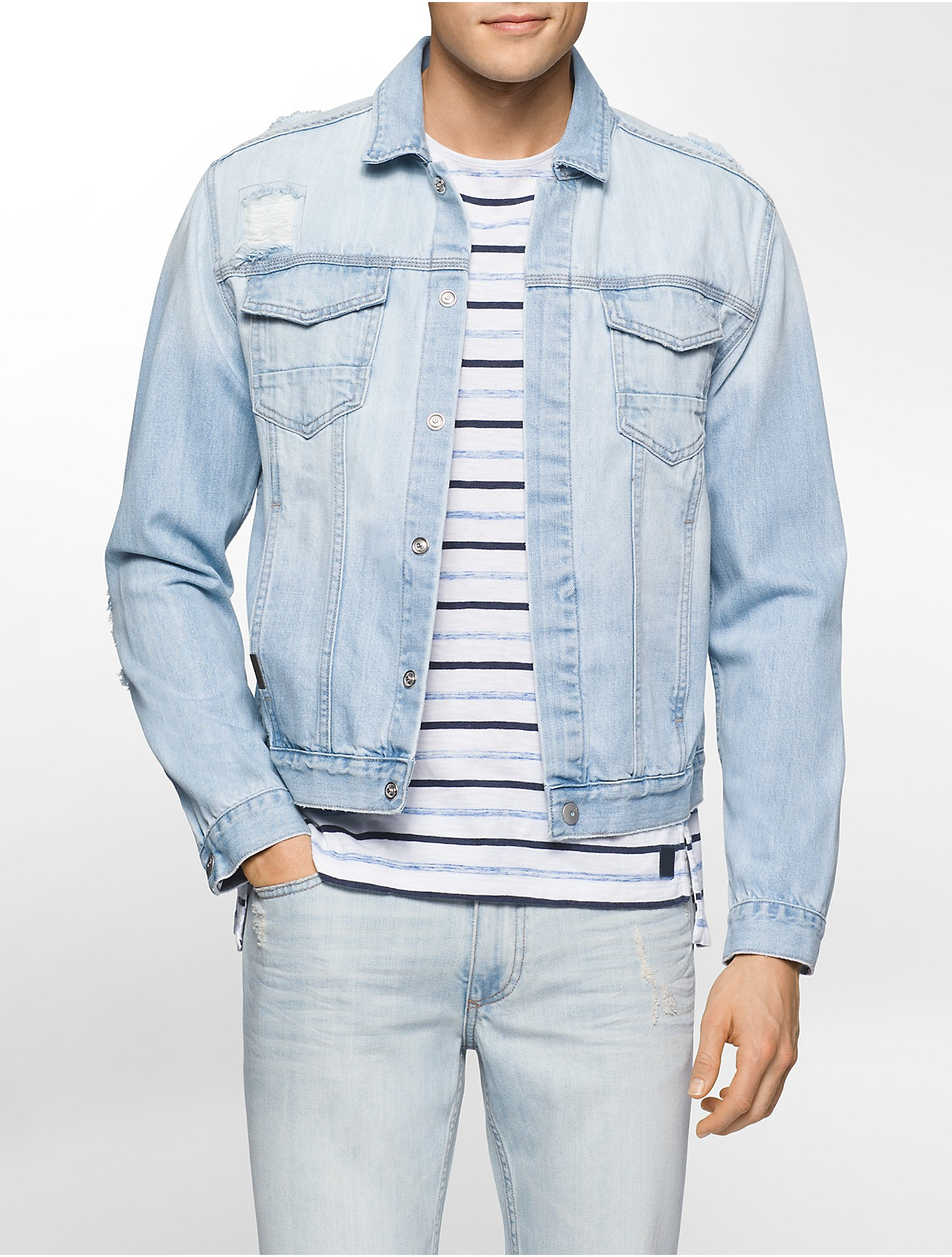 Barbour Sapper Jacket >> Lyst - Calvin Klein Jeans Distressed Jean Jacket in Blue ...