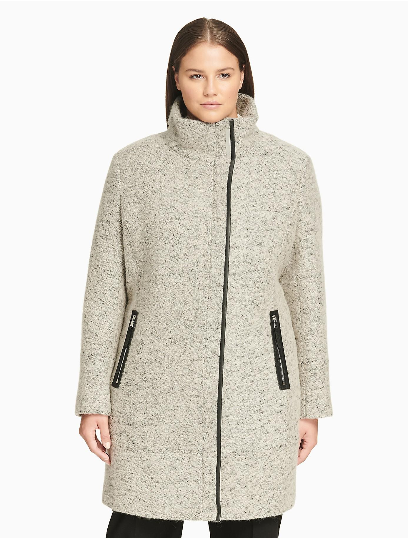 5c246e04d2b Lyst - Calvin Klein Plus Size Lux Funnel Neck Coat in Natural