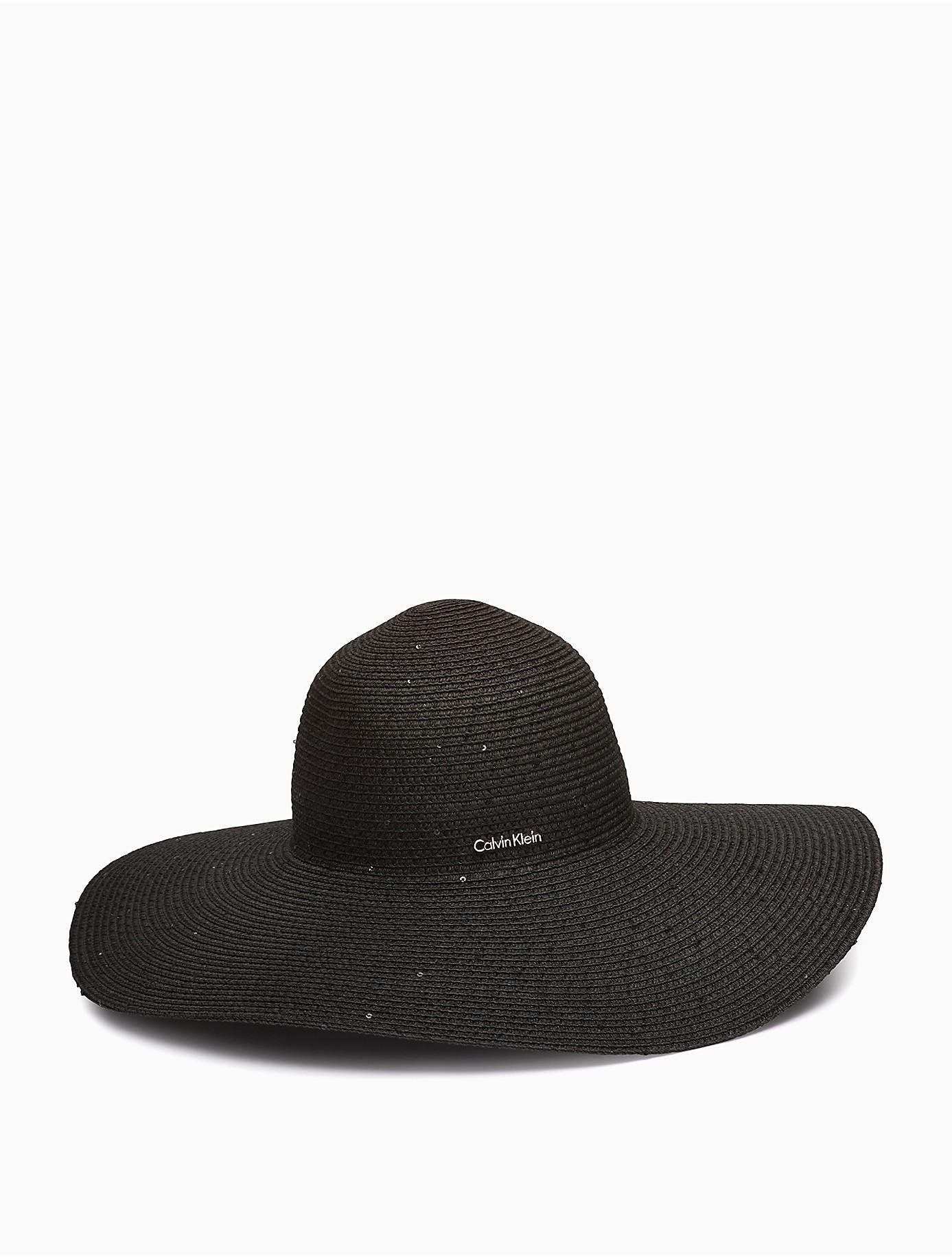 4038aa68 Lyst - Calvin Klein 205W39Nyc Sequin Straw Sun Hat in Black