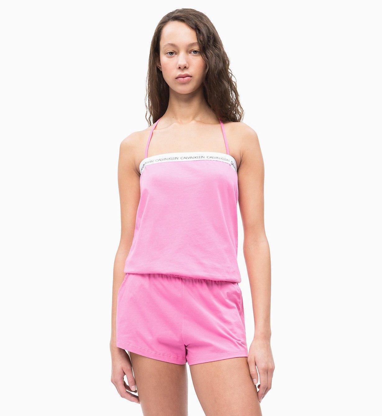 1ac4bd51e8e Calvin Klein Romper - Ck Logo in Pink - Lyst