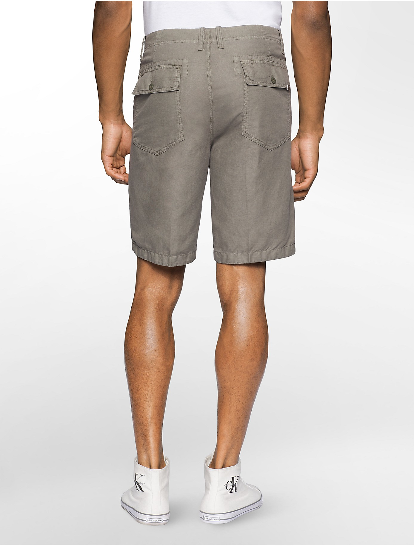 Calvin Klein Linen Lounge Shorts In Gray For Men Lyst