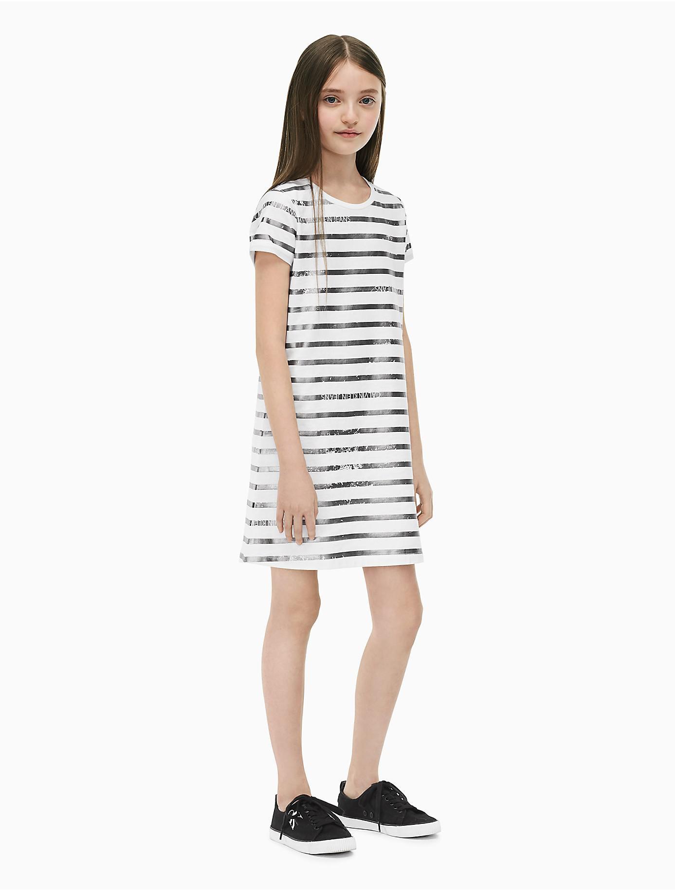 f6398ddb4a3 Lyst - Calvin Klein Girls Striped T-shirt Dress in White