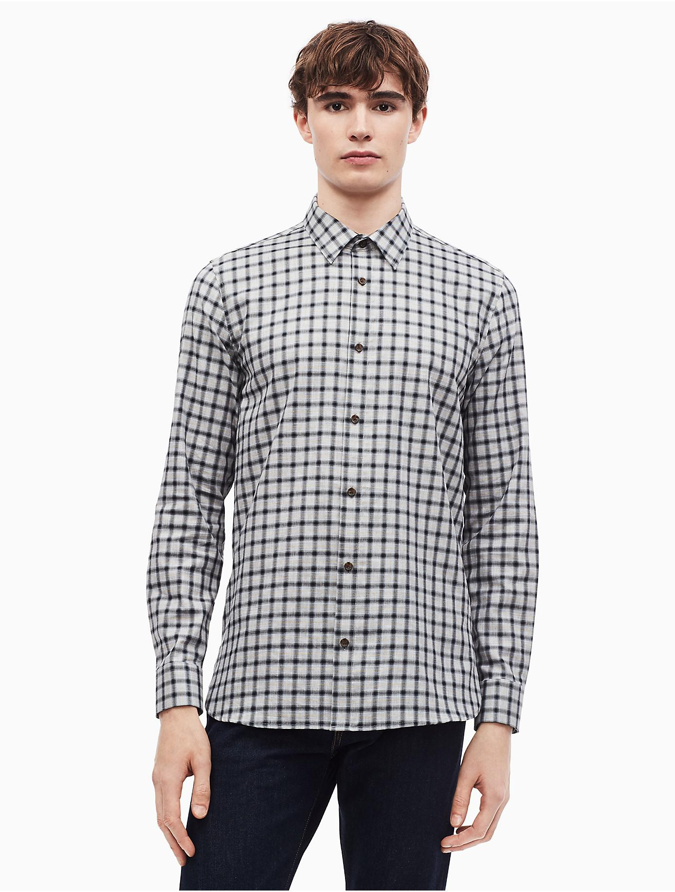 d7be7428f48 Lyst - Calvin Klein Dobby Check Button Down Shirt in Black for Men