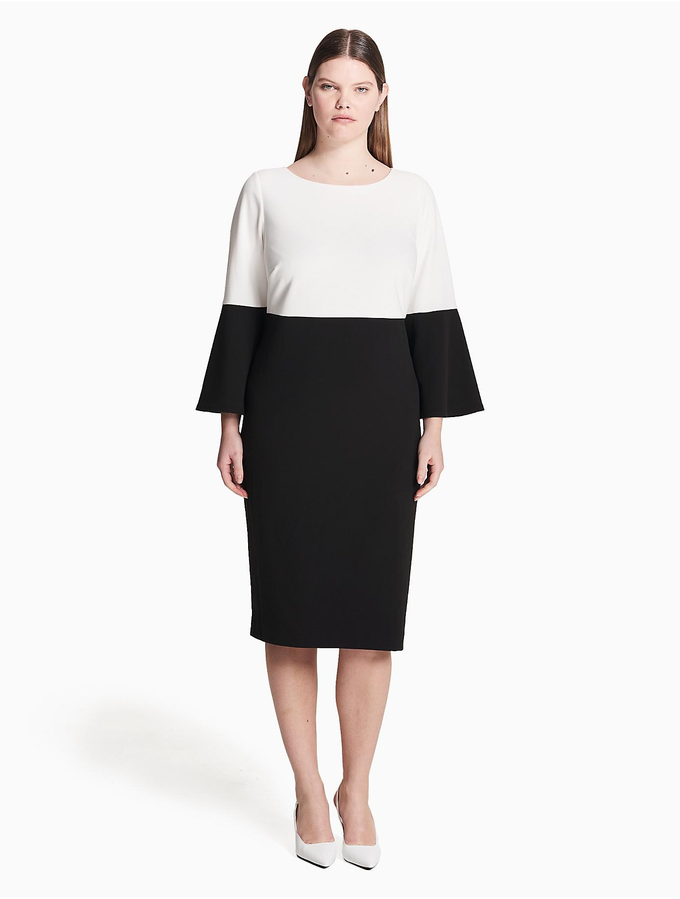 CALVIN KLEIN 205W39NYC Synthetic Plus Size Colorblock Bell ...