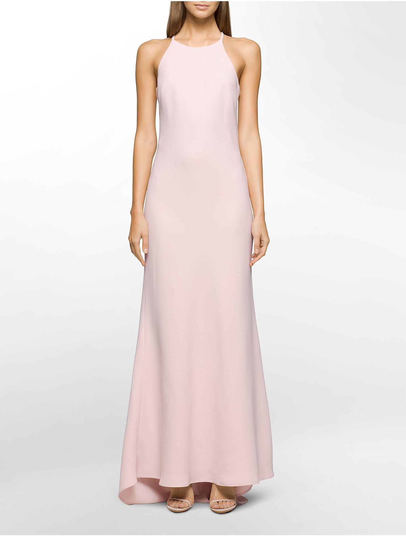 Lyst Calvin Klein Crepe Halter Gown In Pink