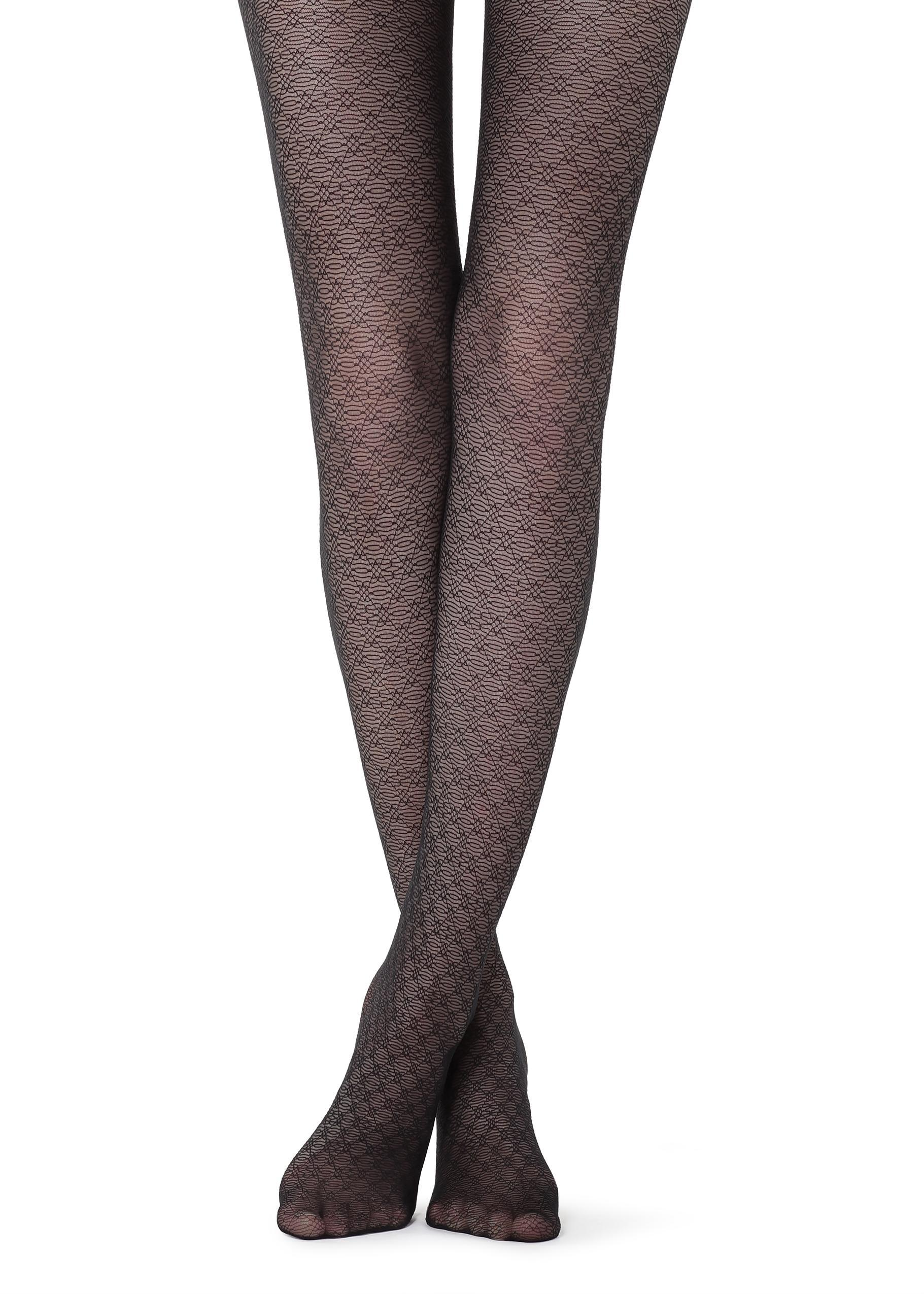 e1c5d03fe3d Lyst - Calzedonia Diamond-patterned Tights in Black