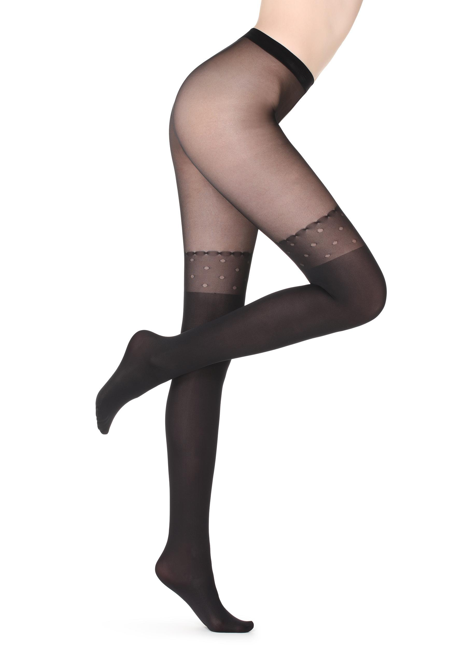 2e82726c3 Lyst - Calzedonia Polkadot Over-the-knee Effect Tights in Black